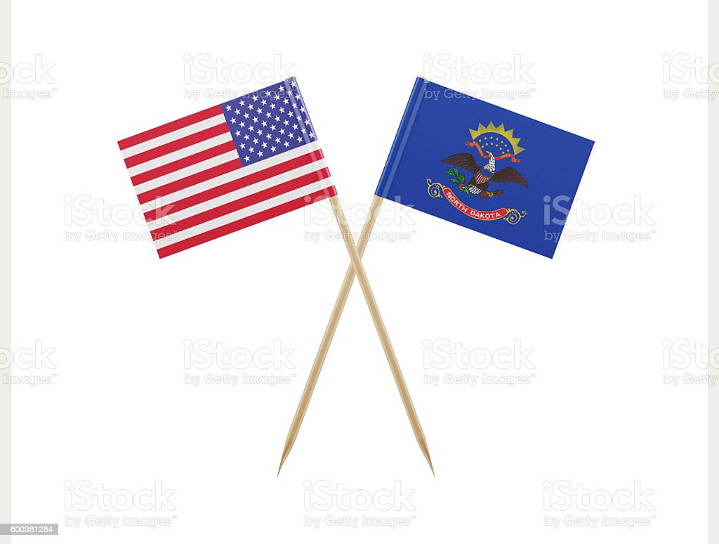 Tiny American and North Dakota Flag on a Toothpick stock photo
