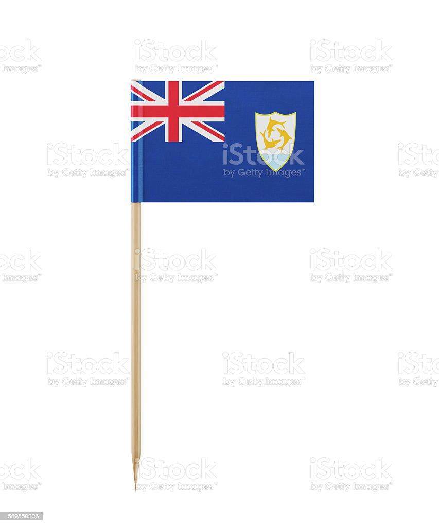 Tiny Anguilla Flag  on a Toothpick stock photo