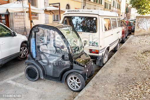 19 october 2018, Florence, Italy: Tiny car parked at the city street.