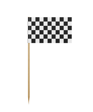 Tiny  checkered flag on a toothpick. The flag has nicely detailed paper texture, High quality 3d render. Isolated on white background. Clipping path is included.