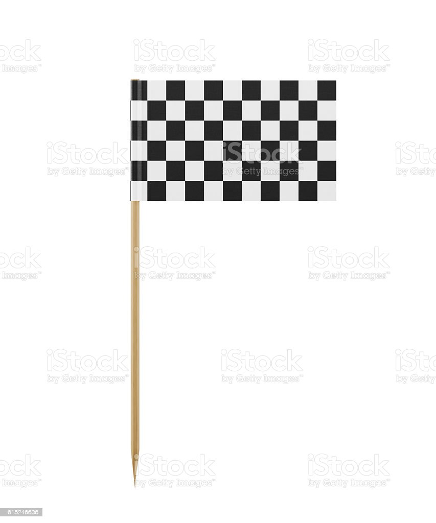 Tiny Checkered Flag on a Toothpick stock photo