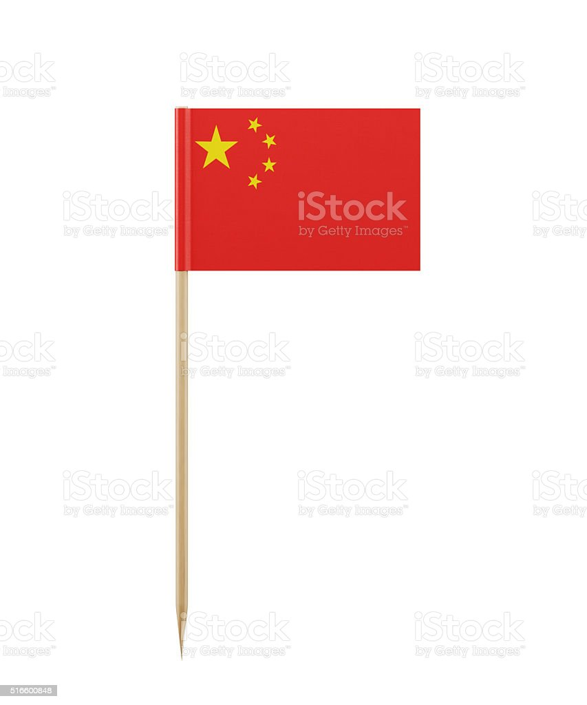 Tiny Chinese Flag on a Toothpick stock photo