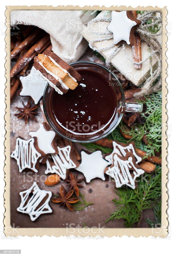 Tiny Chocolate Christmas Cookies Star Shape Cup photo libre de droits