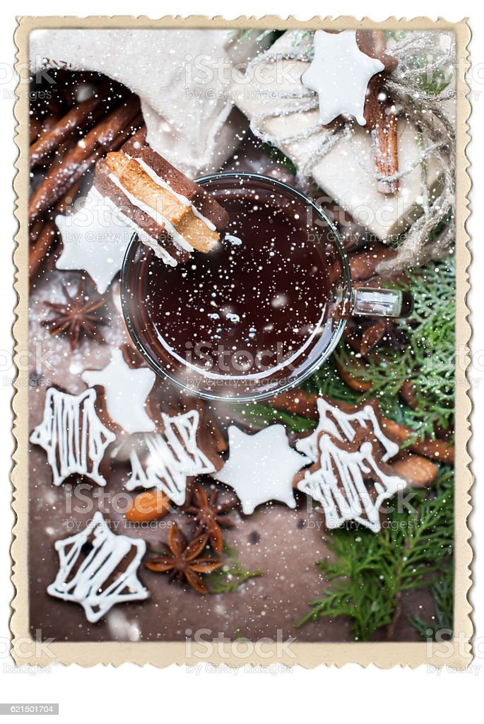 Tiny Chocolate Christmas Cookies Star Shape Cup foto stock royalty-free