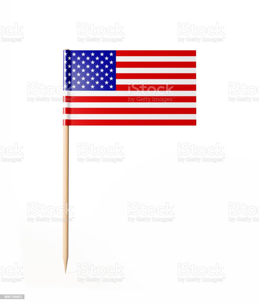 Tiny Cocktail Stick American Flag stock photo