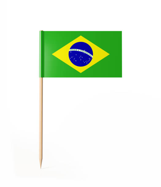 Tiny Cocktail Stick Brazilian Flag stock photo