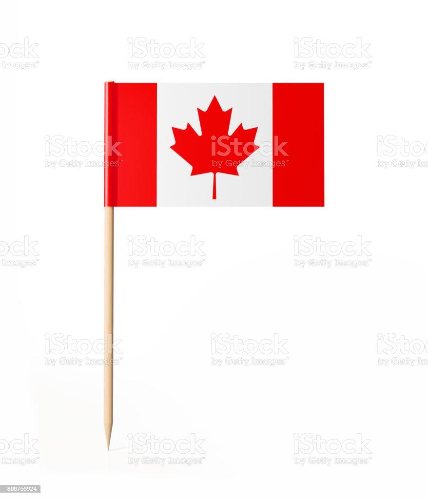 Bandera canadiense pequeño palillo de Cóctel - foto de stock