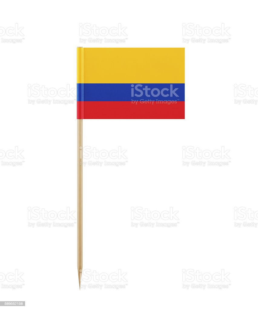 Tiny Colombian Flag on a Toothpick - foto de stock
