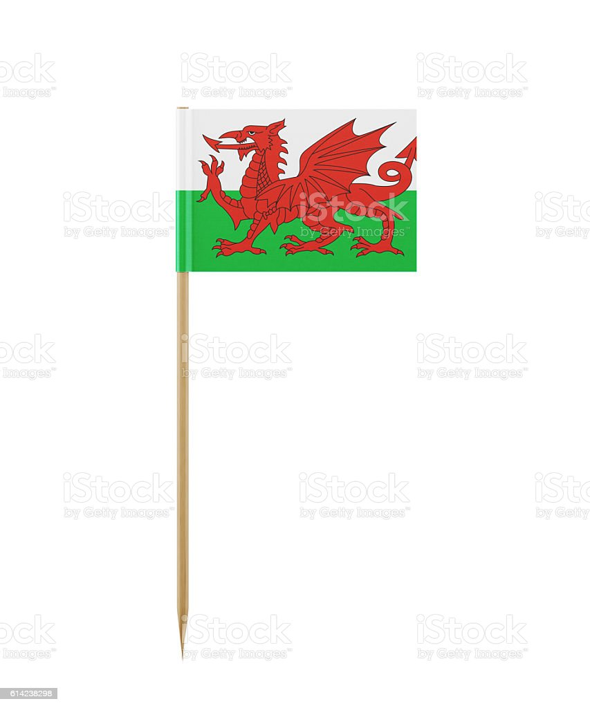 Tiny Flag of Wales on a Toothpick stock photo