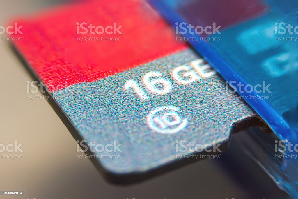 Tiny Flash-memory inserted in device stock photo