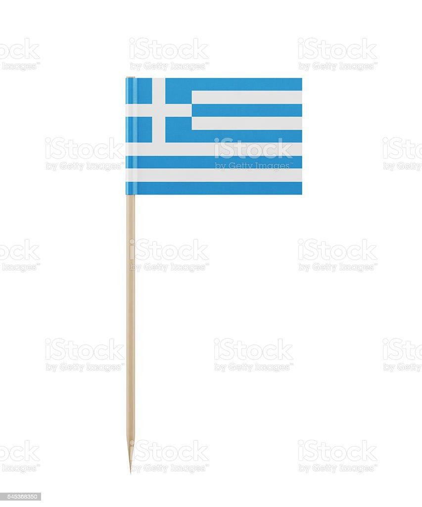 Tiny Greek Flag on a Toothpick - foto de stock