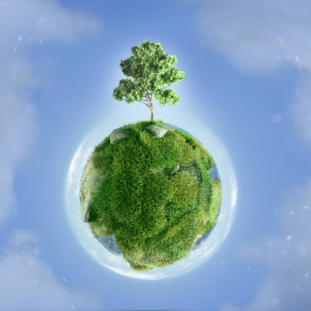 Tiny green planet with tree growing on top  3D Render Tiny green planet with tree growing on top  3D Render water wastage stock pictures, royalty-free photos & images