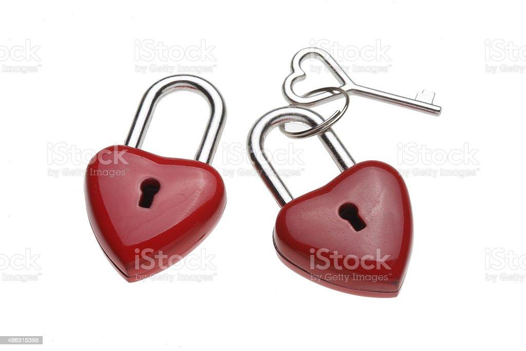 Tiny heart-shaped lock, padlock, as love lock stock photo