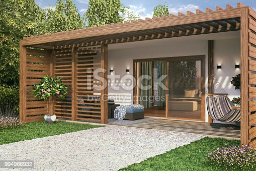 Picture of cozy bungalow. Render image.