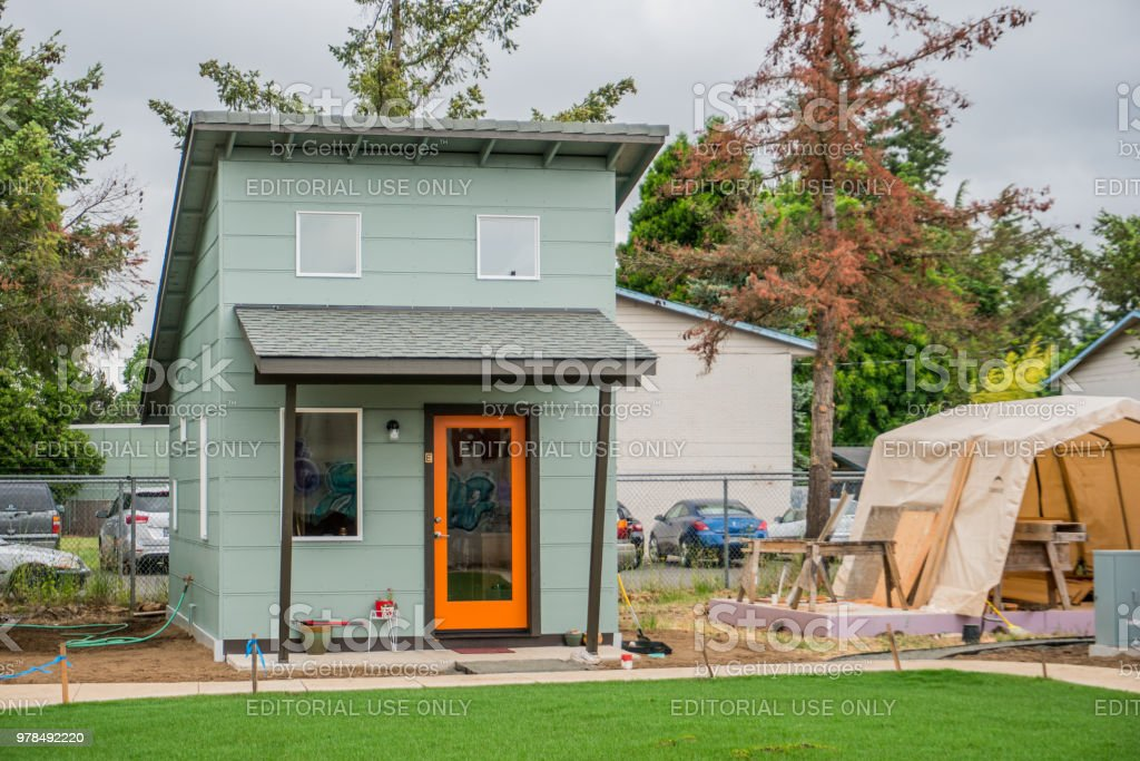 Tiny House Transitional Village stock photo