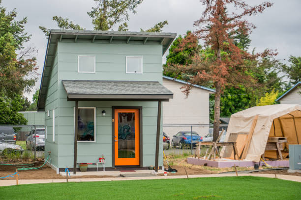 Tiny House Transitional Village stock photo