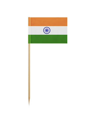Tiny Indian flag on a toothpick. The flag has nicely detailed paper texture, High quality 3d render. Isolated on white background. Clipping path is included.