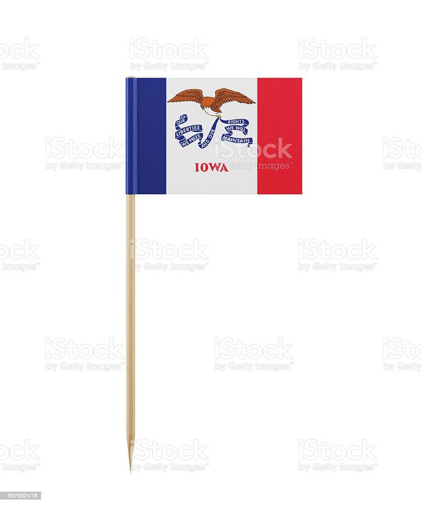 Tiny Iowa Flag on a Toothpick stock photo