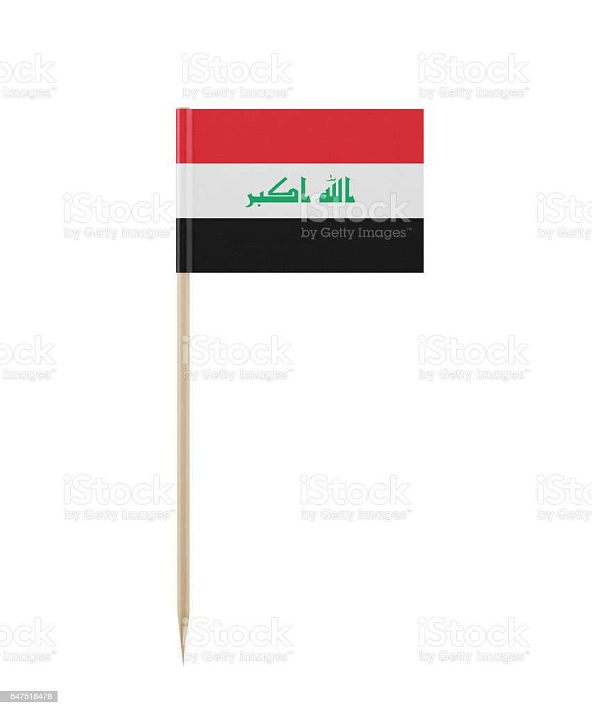 Tiny Iraqi Flag on a Toothpick - foto de acervo