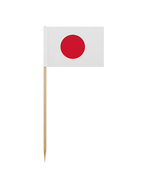 Bandera japonesa en una pequeña palillo de dientes - foto de stock