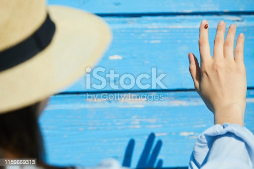 Background image of tiny ladybug on hand of unrecognizable woman standing against blue wall in Summer, copy space