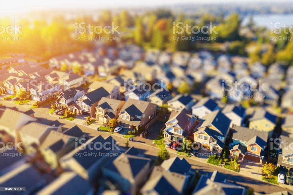 Tiny Neighborhood Aerial Tilt-shift Photo at Sunset royalty-free stock photo