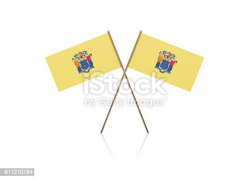 istock Tiny New Jersey Flag Pair on Gold Sticks 611210184