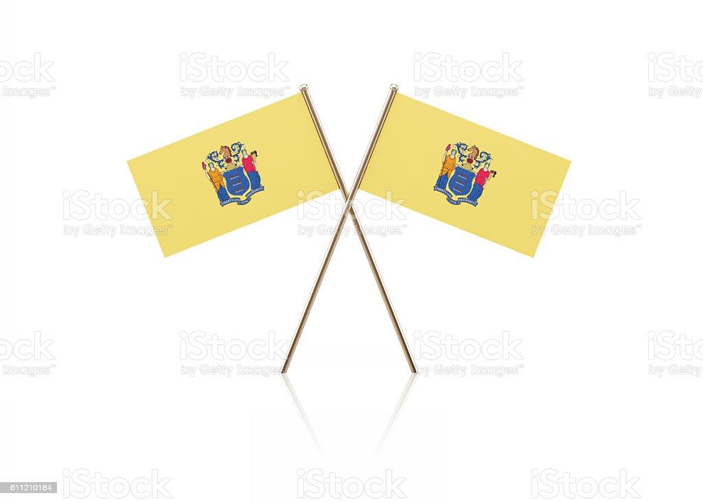 Tiny New Jersey Flag Pair on Gold Sticks stock photo