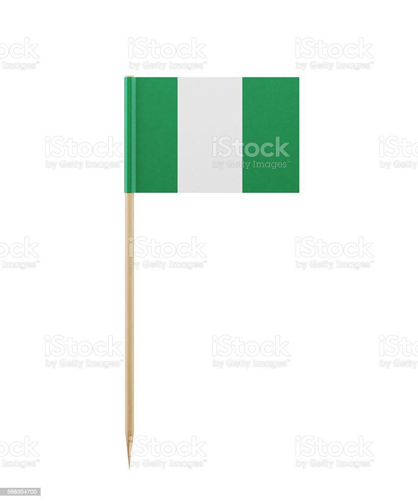 Tiny Nigerian Flag on a Toothpick - foto de stock