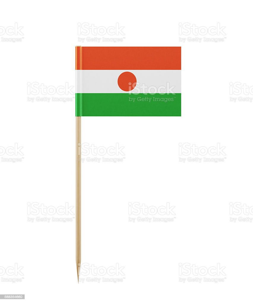 Tiny Nigerien Flag on a Toothpick stock photo