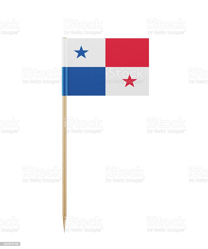 Tiny Panamanian Flag on a Toothpick - foto de acervo