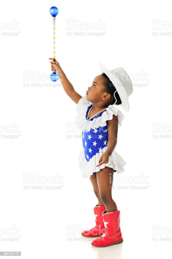 Pequeño Majorette patriótico - foto de stock