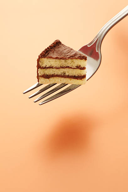 tiny piece of cake on fork - portion bildbanksfoton och bilder