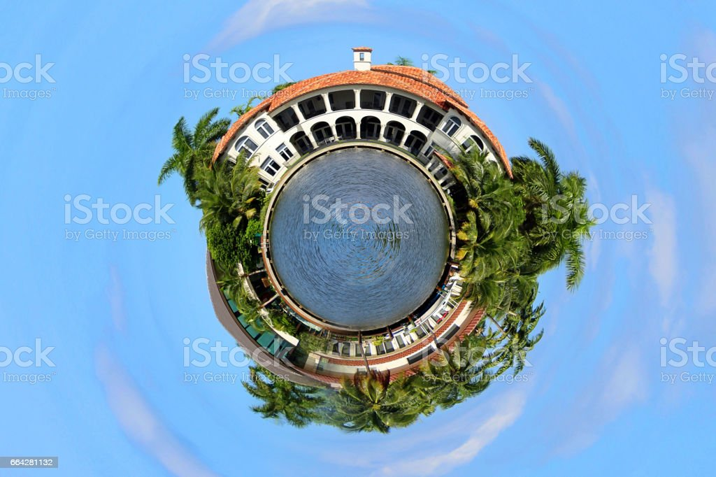 Tiny Planet Real Estate World stock photo