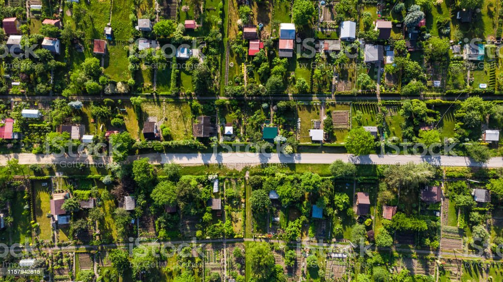Tiny Plot Gardens, Ecology in big City, Aerial View.