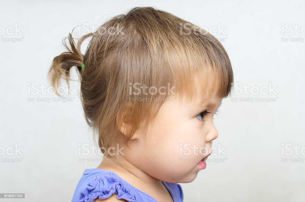 Tiny Ponytail Baby Girl First Hair Style Stock Photo More Pictures