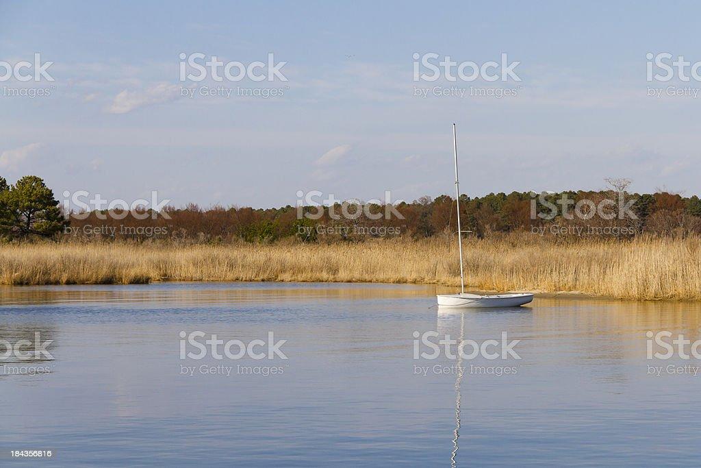 Tiny Sailboat on a Saltwater Pond stock photo