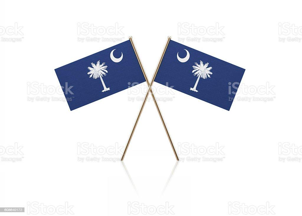 Tiny South Carolina Flag Pair on Gold Sticks stock photo