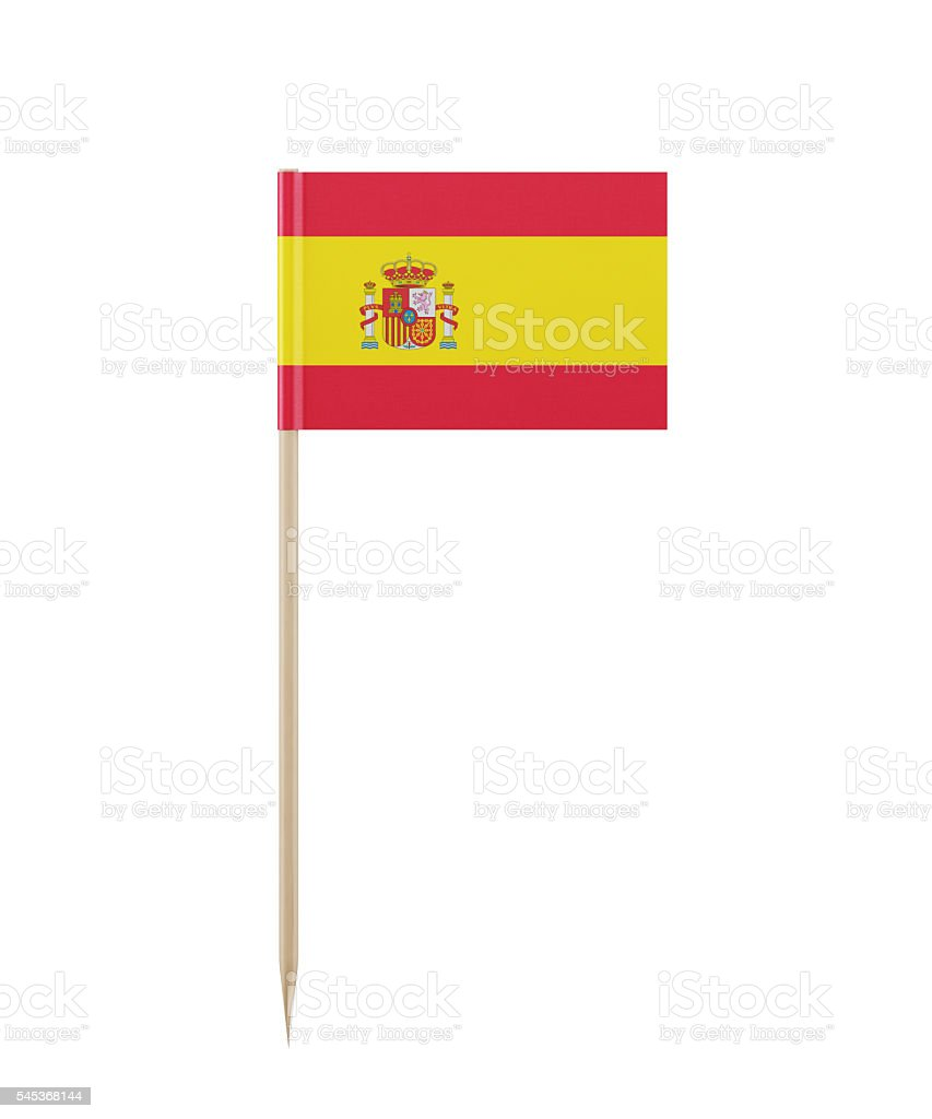 Tiny Spanish Flag on a Toothpick - foto stock