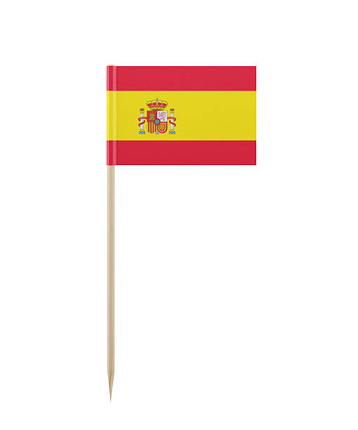 Tiny Spanish Flag on a Toothpick - foto de acervo