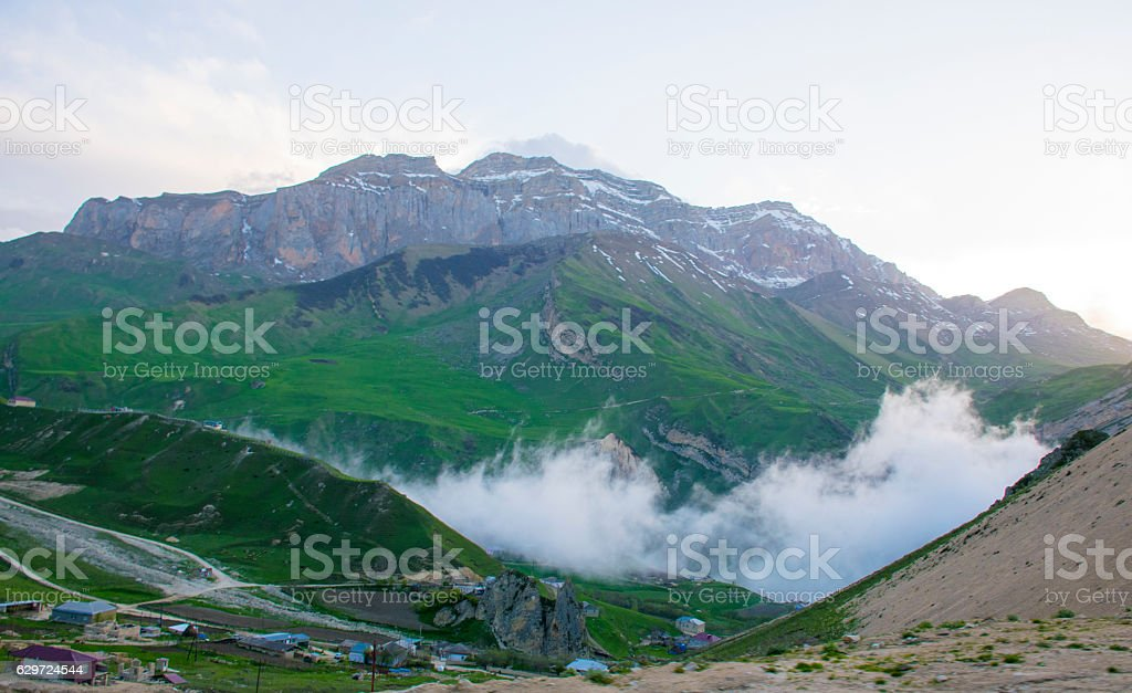 tiny village in Caucasus Mountains stock photo