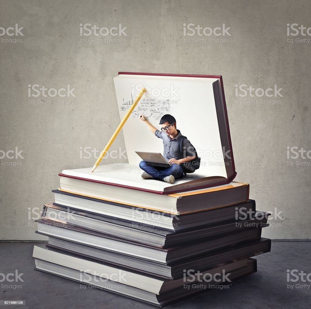 Tiny writer stock photo