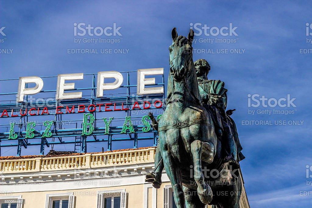 Tio Pepe sign located in Puerta del Sol, Madrid, Spain stock photo