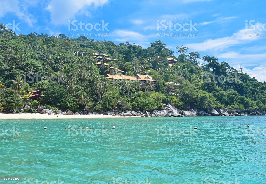 Tioman island beautiful ocean shore under the blue sky Lizenzfreies stock-foto