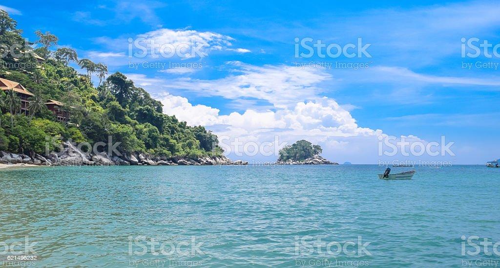 Tioman island beautiful ocean shore under the blue sky Lizenzfreies stock-foto