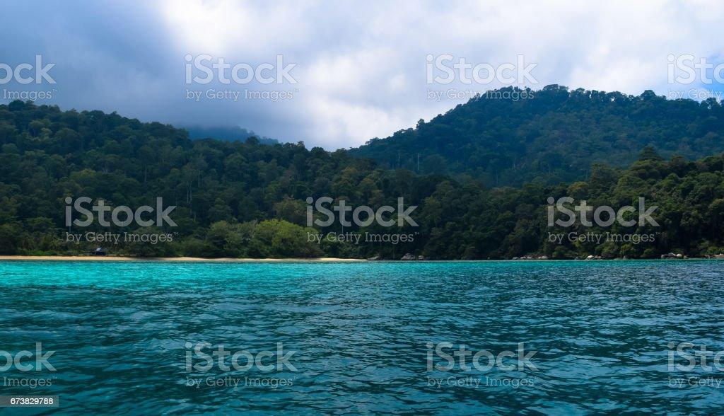 Tioman Adası tropik ada Malezya. Tropik cennet plaj royalty-free stock photo