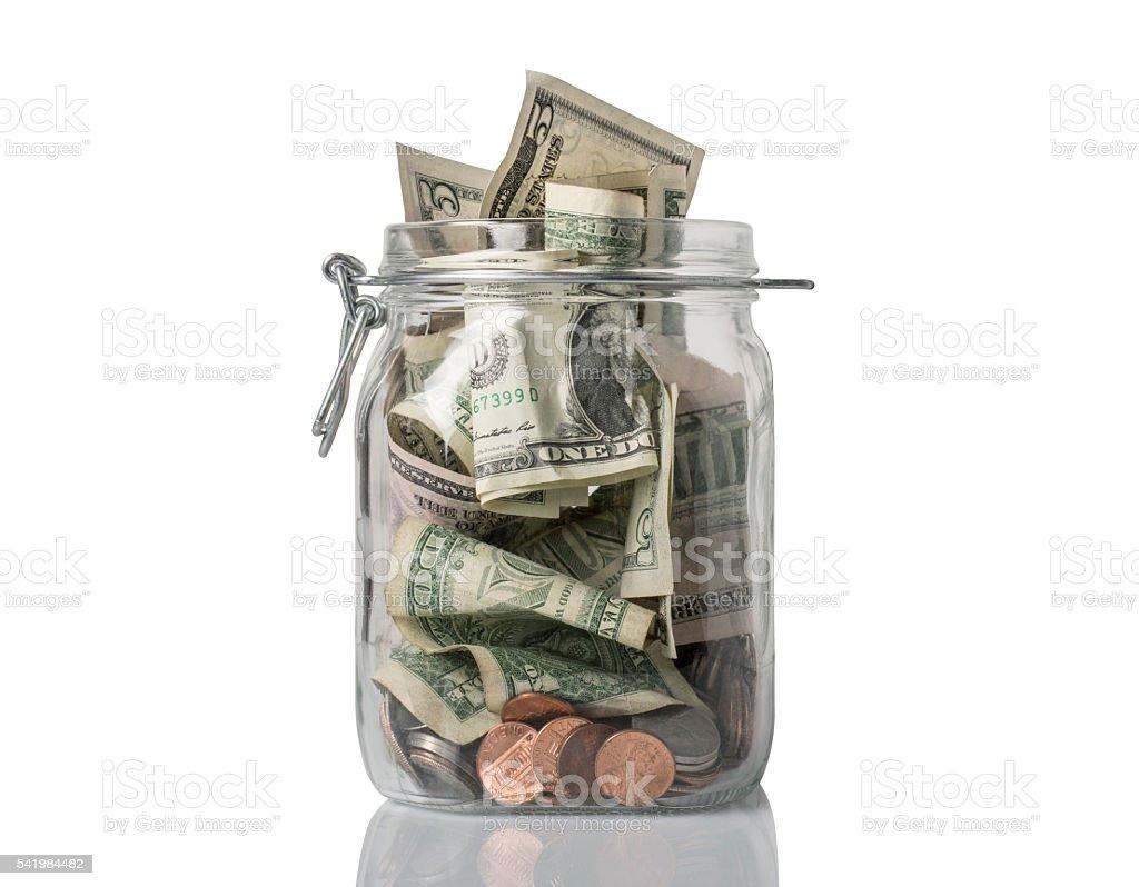 Tip Jar Overflowing stock photo