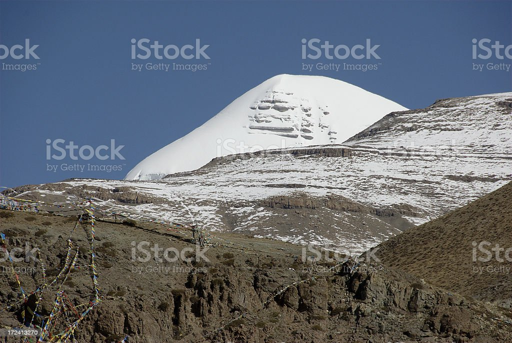 Tip of Mount Kailash (Gang Rinpoche, Tibet) stock photo
