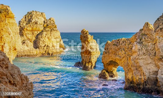 istock Tip of piety rock cliffs in algarve lakes portugal 1203389047