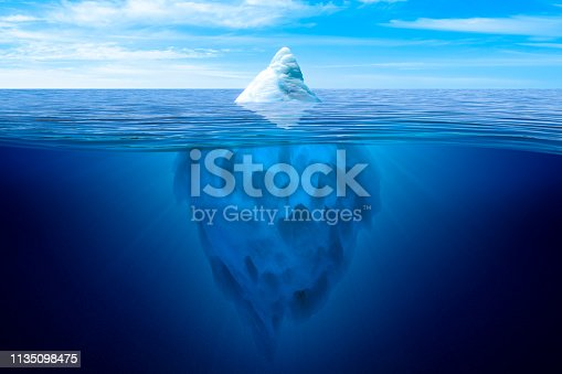 Tip of the iceberg. Underwater iceberg floating in ocean. Image montage.